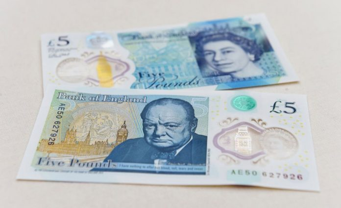 British Pound 5 bank note with animal fats