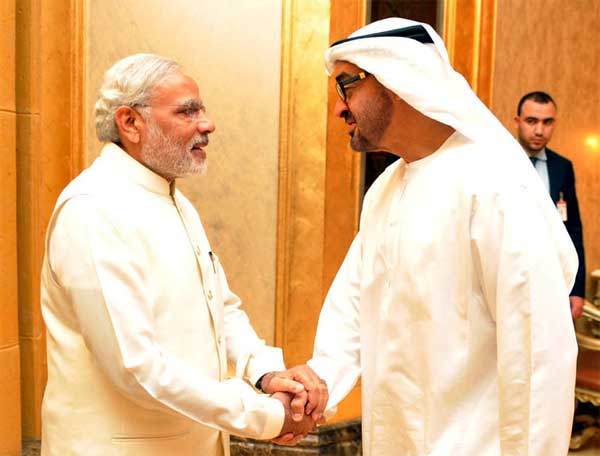 modi with crown prince uae