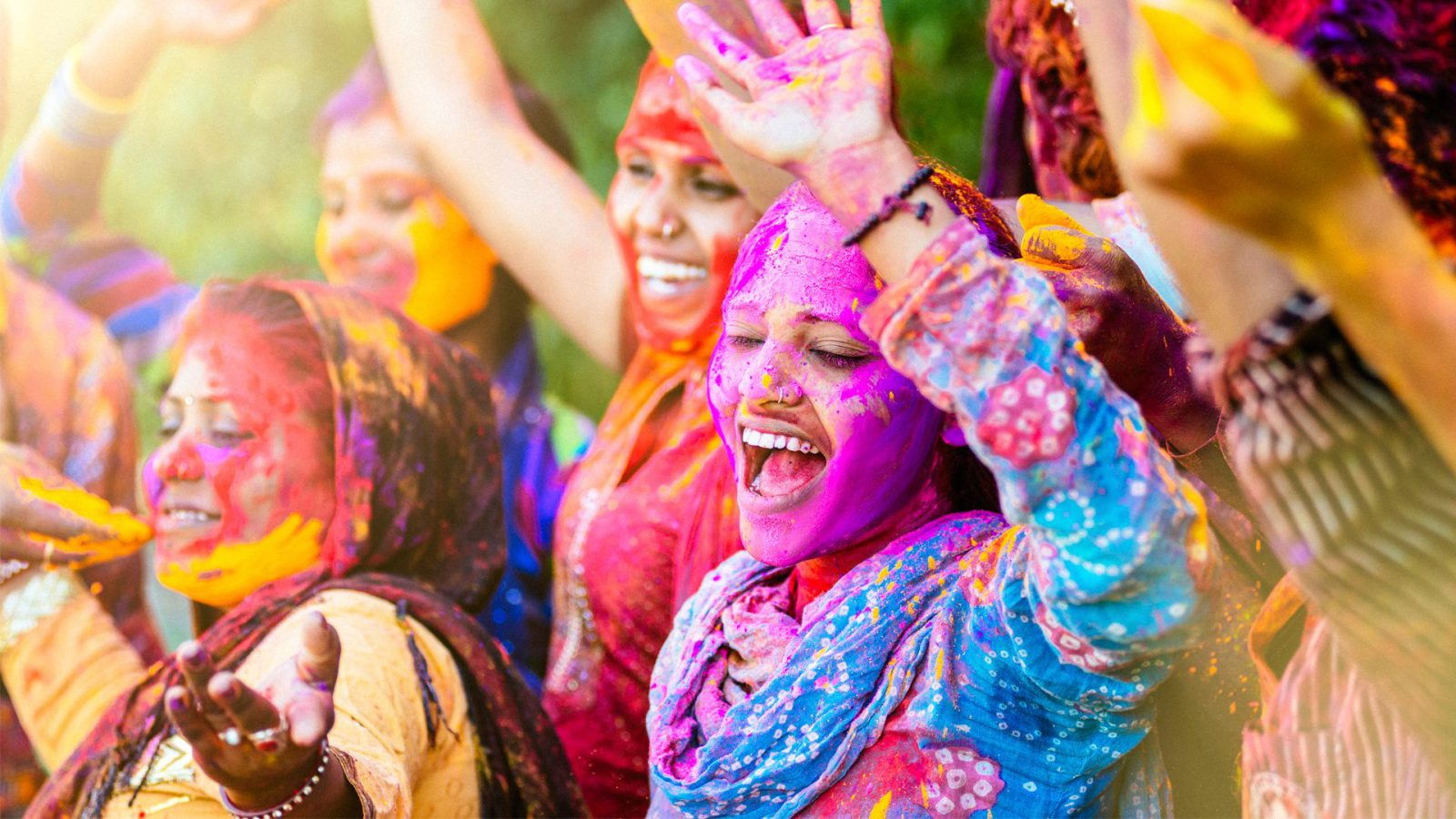 Indian women playing holi