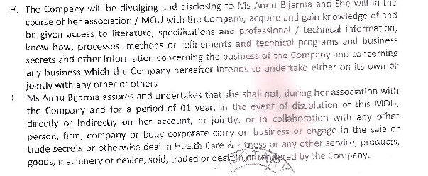 MOU - Annu Bijarnia - fraudster and cheating case