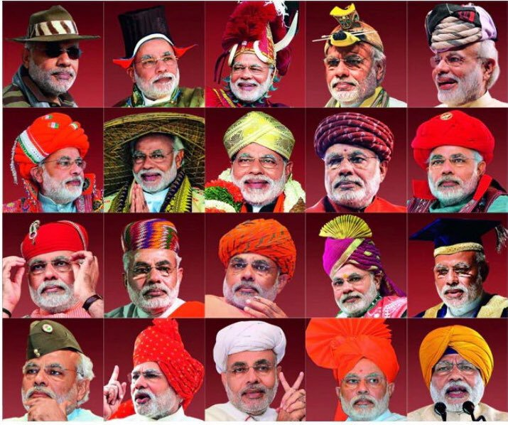 Narendra Modi wearing various headgears