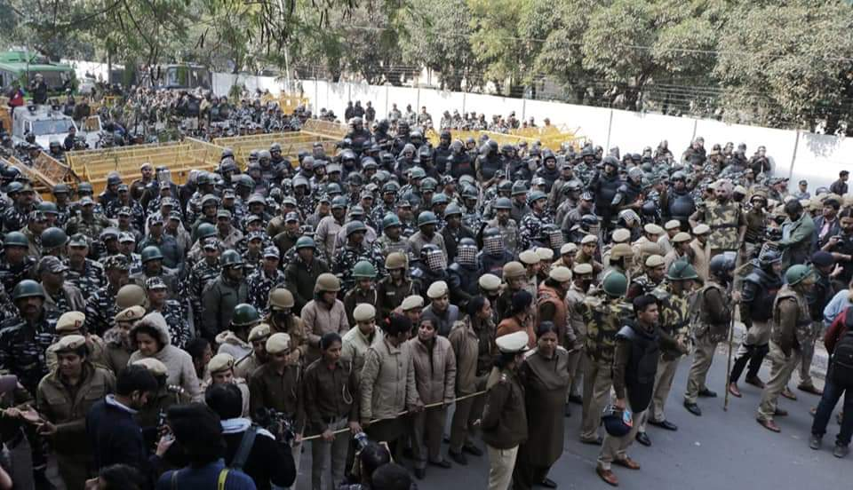 Police presence outside Jamia Millia University - Anti-CAA Protest
