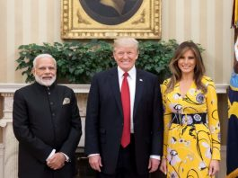 Narendra Modi with Donald Trump and Melania Trump