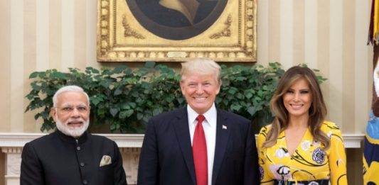 Narendra Modi with Donald Trump and Melania Trump