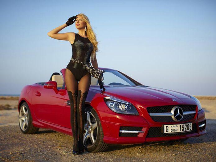 Freelance Model at Car Show